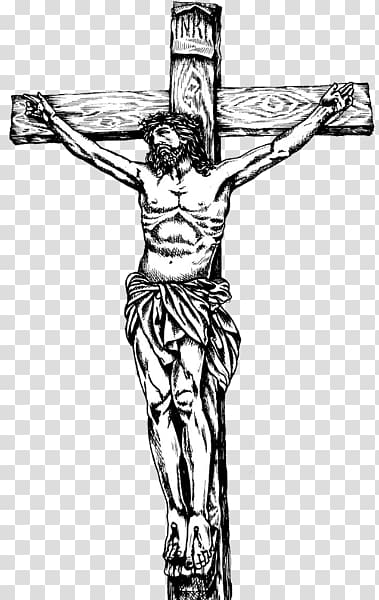 Crucifix sketch, Cross Jesus Illustration transparent background PNG.
