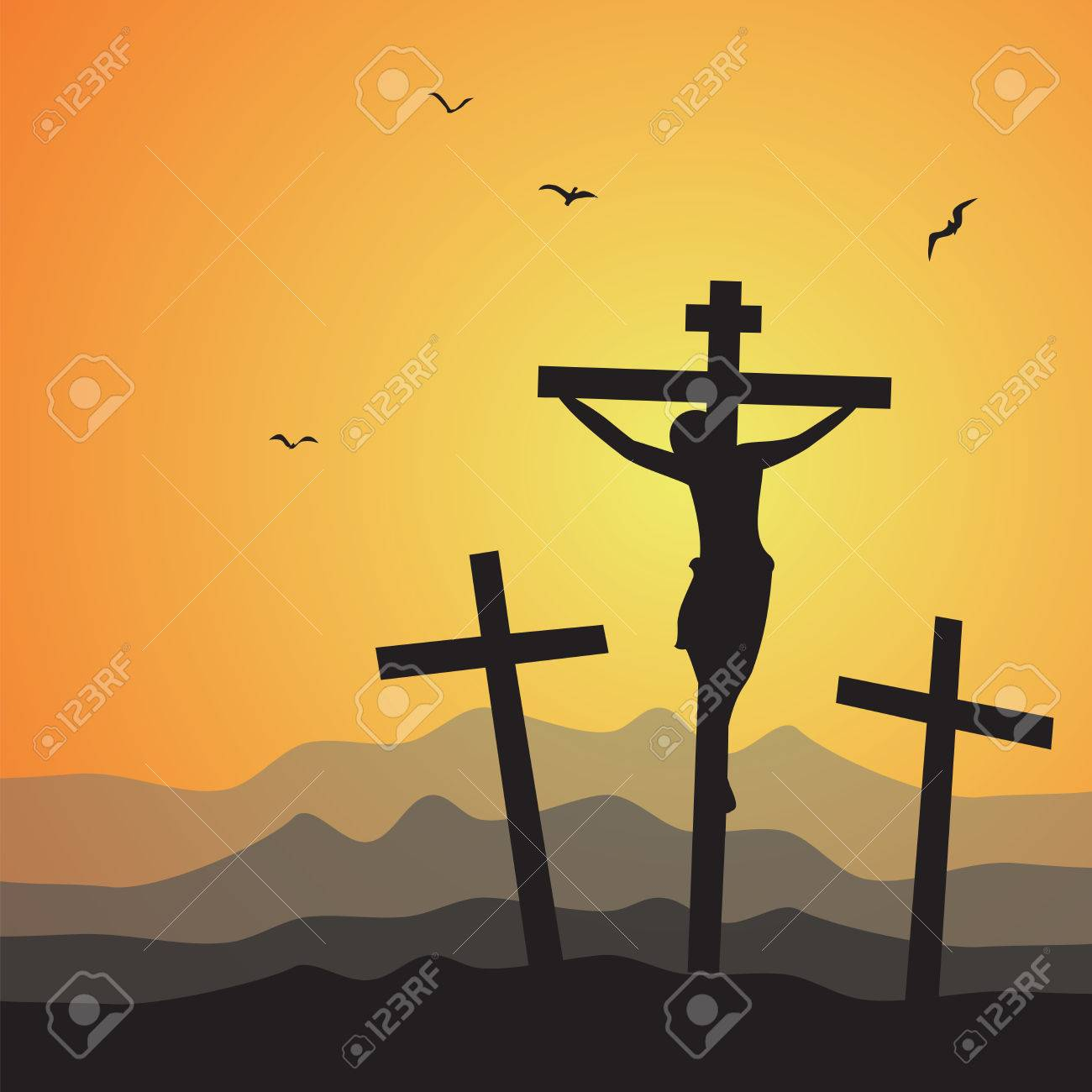 Crucifixion. Vector illustration of Jesus Christ's crucifixion..