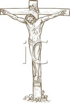 Drawing of Christ on the Crucifixion Cross.