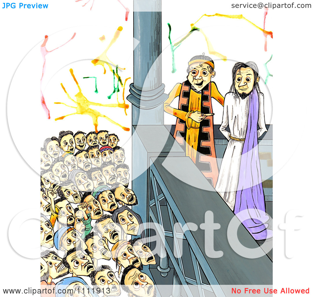 Clipart Mob Shouting Crucify Him To Judge Pilate With Jesus At His.