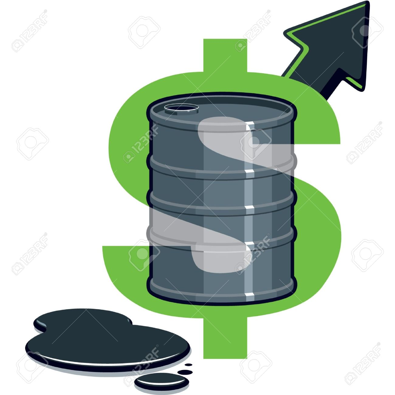 Dollar Symbol With Barrel Of Oil.