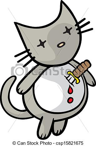 Vectors Illustration of Heartache Kitty.