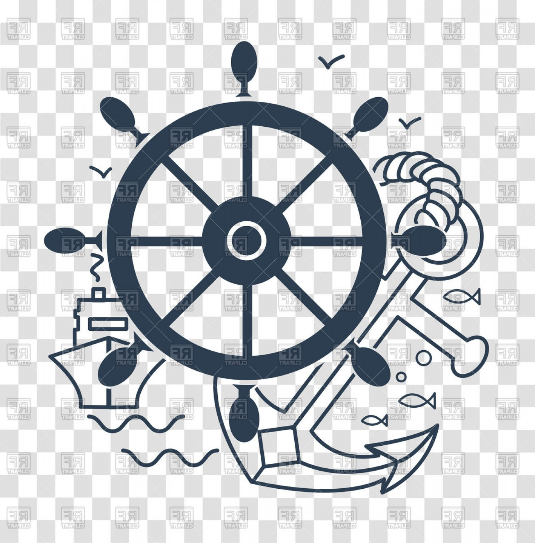 Sea Cruise Emblem Ship Steering Wheel And Anchor Vector Clipart.