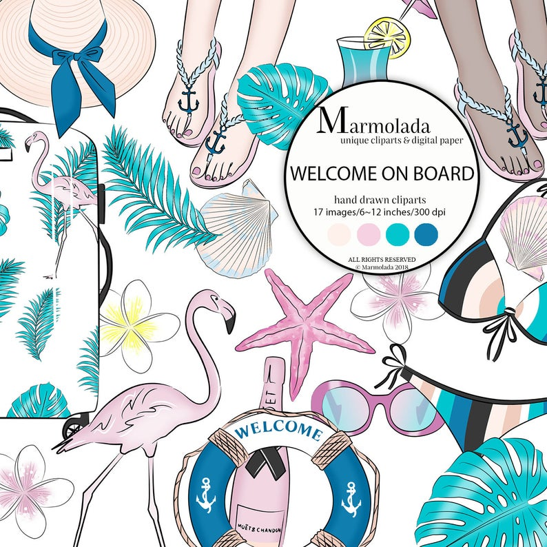 Summer clipart Cruise clip art Travel clipart Tropical Paradise Glam  Vacation On board Illustration Beach Fashion Sea chic Maritime Flamingo.