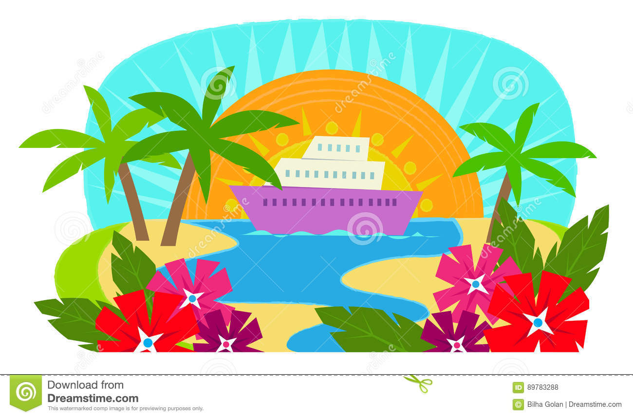 Cruise Ship stock vector. Illustration of palm, ship.
