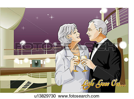 Stock Illustrations of Couple having a drink on the deck of a.