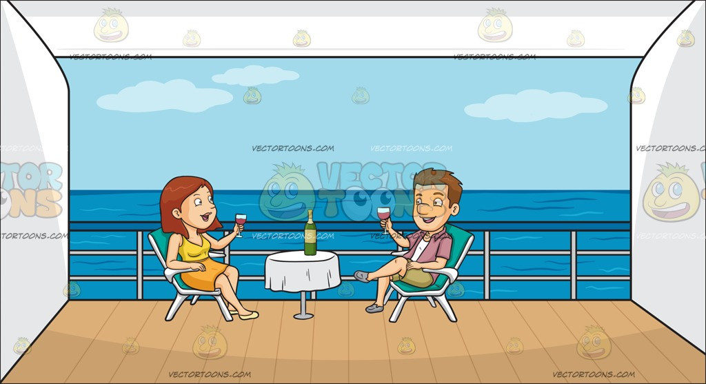 A Couple Drinking Wine Outside On Their Cruise Ship Balcony.