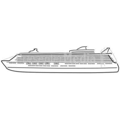 Cruise Ship Outline Drawing.