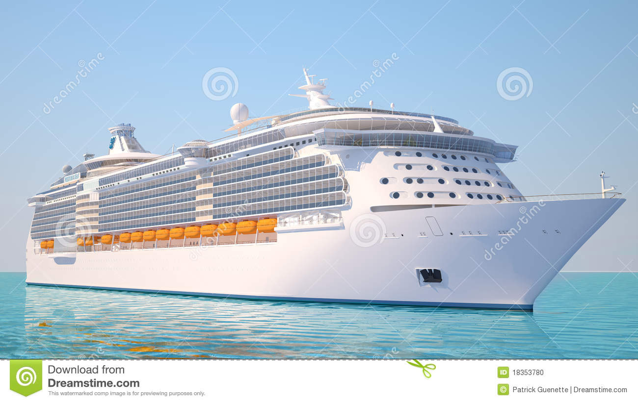 Cruise Ship On The Ocean Perspective View Stock Photo.
