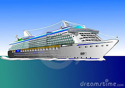 Cruise Ship, Illustration Royalty Free Stock Image.
