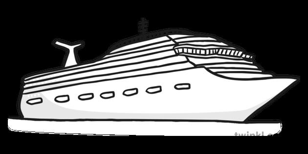 Cruise Ship Black and White Illustration.