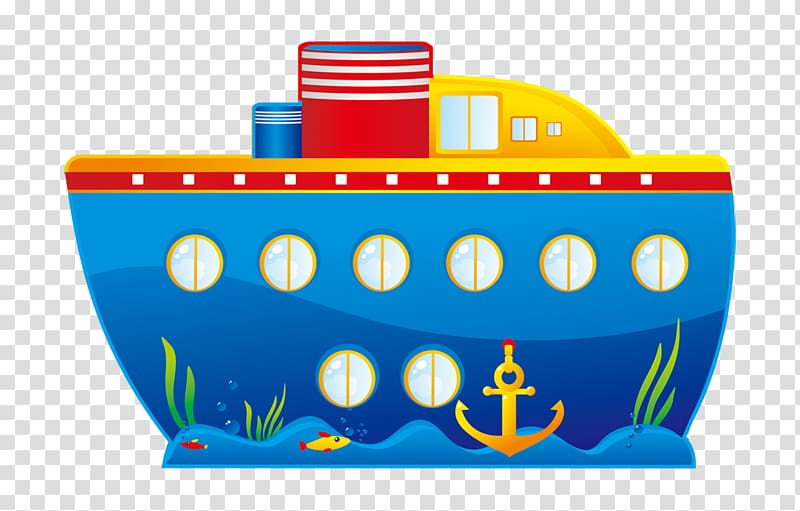 Cartoon Cruise ship , Cartoon painted blue boat anchor coral reefs.