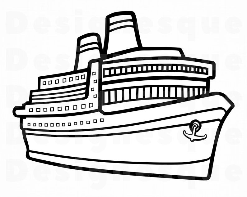 Cruise Ship Outline SVG, Vacation SVG, Cruise Ship Clipart, Cruise Ship  Files for Cricut, Cruise Ship Cut Files For Silhouette, Dxf, Png Eps.