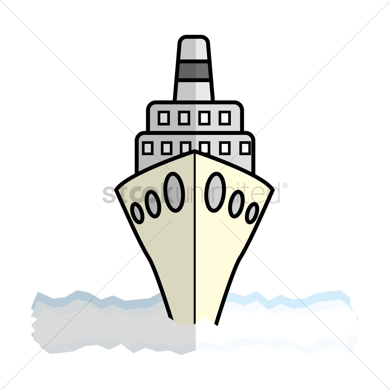 Cruise ship front view Vector Image.