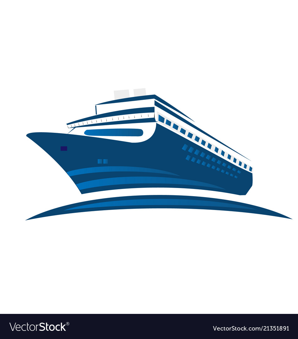 Blue cruise ship symbol logo.