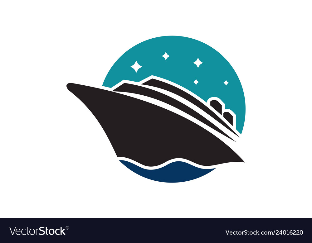 Cruise ship on sea abstract travel logo icon.