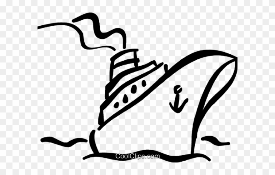 Cruise Ship Outline Clip Art.