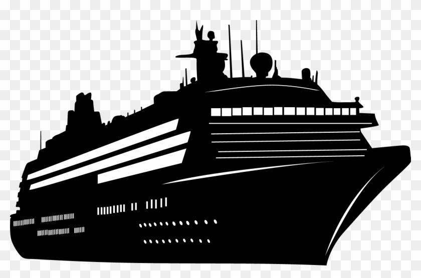 Transparent Cruise Ship Silhouette.