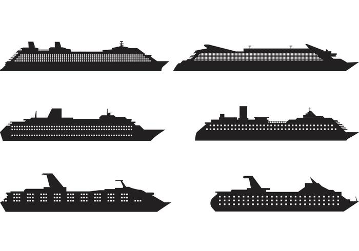 Cruise Liner Silhouette Vectors.