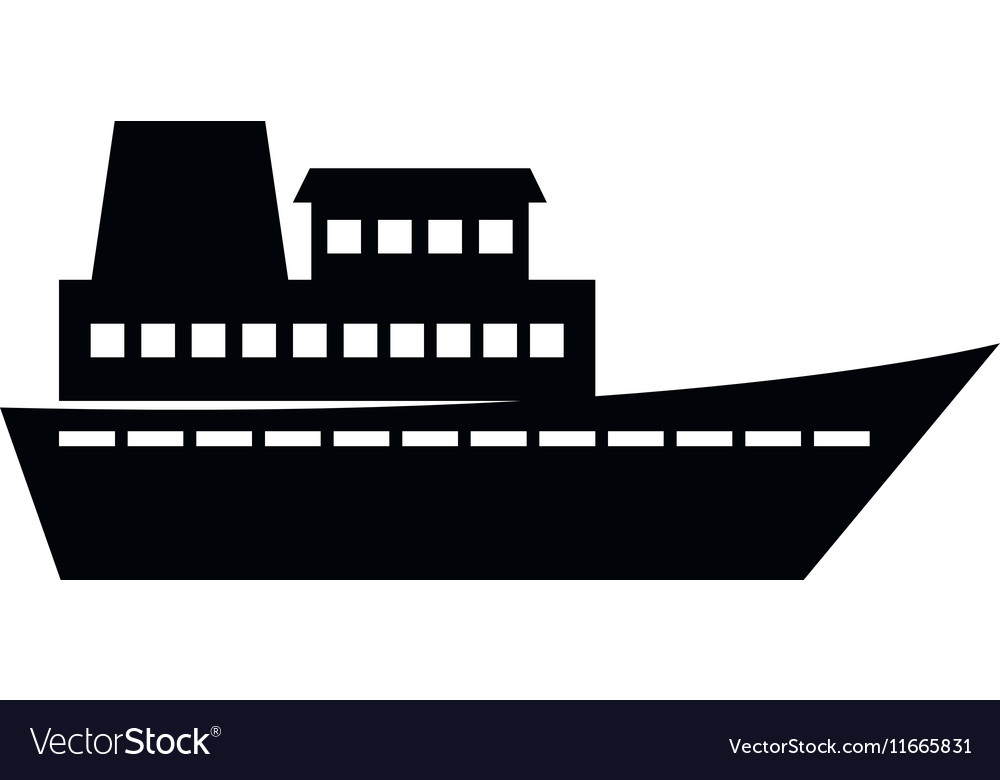 Cruise ship silhouette isolated icon.