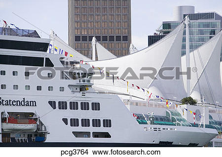 Stock Photo of Canada Place Convention Center and Cruise Ship.
