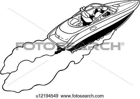 Clip Art of , boat, cruiser, power, power boat, speed, sport.