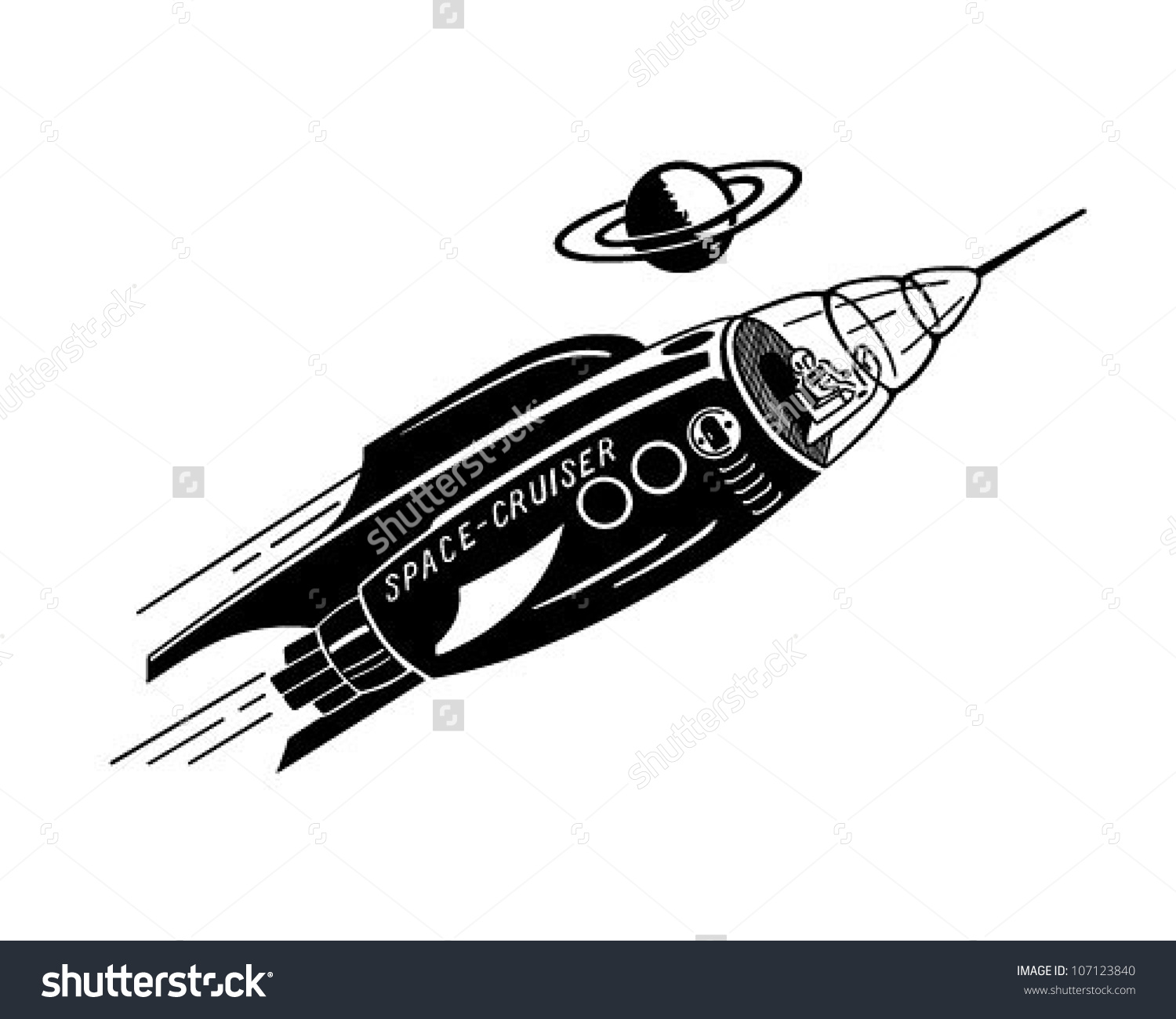 Space Cruiser Retro Clipart Illustration Stock Vector 107123840.