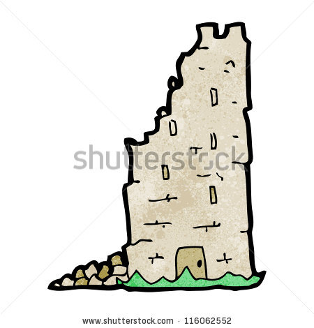 Crumbling Castle Tower Cartoon Stock Vector 116062552.