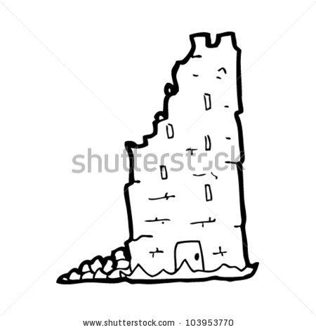 Crumbling Castle Tower Cartoon Stock Vector 116062552.