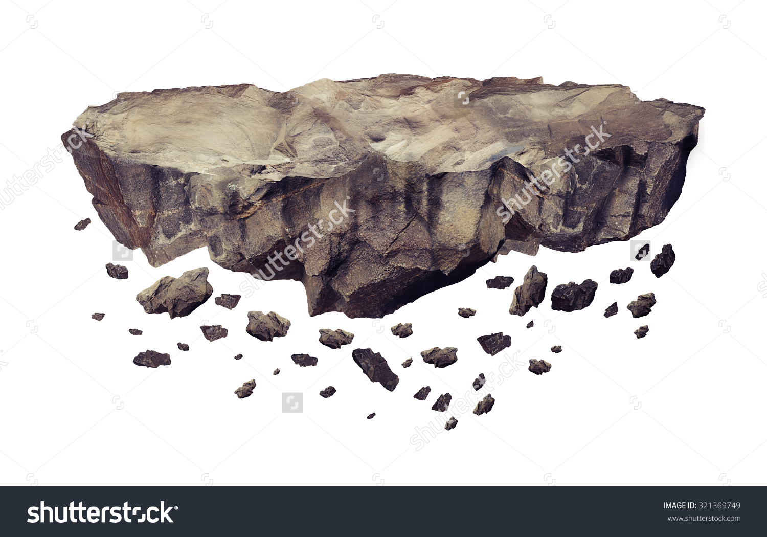 Floating Crumbling Rock Isolated On White Stock Illustration.