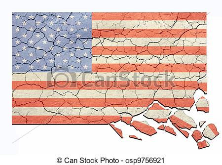 Clipart of Aged Cracked and Crumbling US Flag.