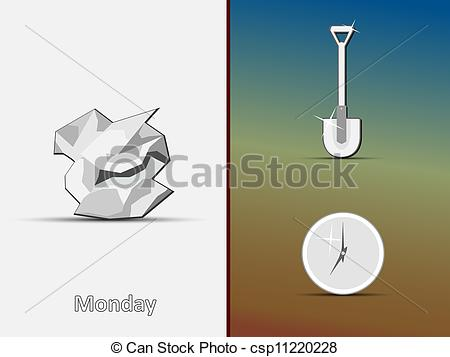 Vector Illustration of Icons of the crumpled paper, shovel.