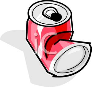 Crumpled Can of Soda Clip Art Image.