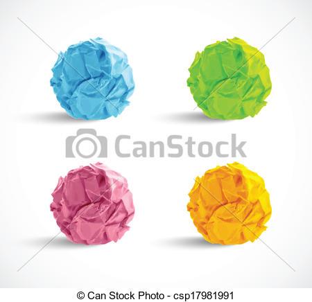 EPS Vectors of set of crumpled paper balls csp17981991.