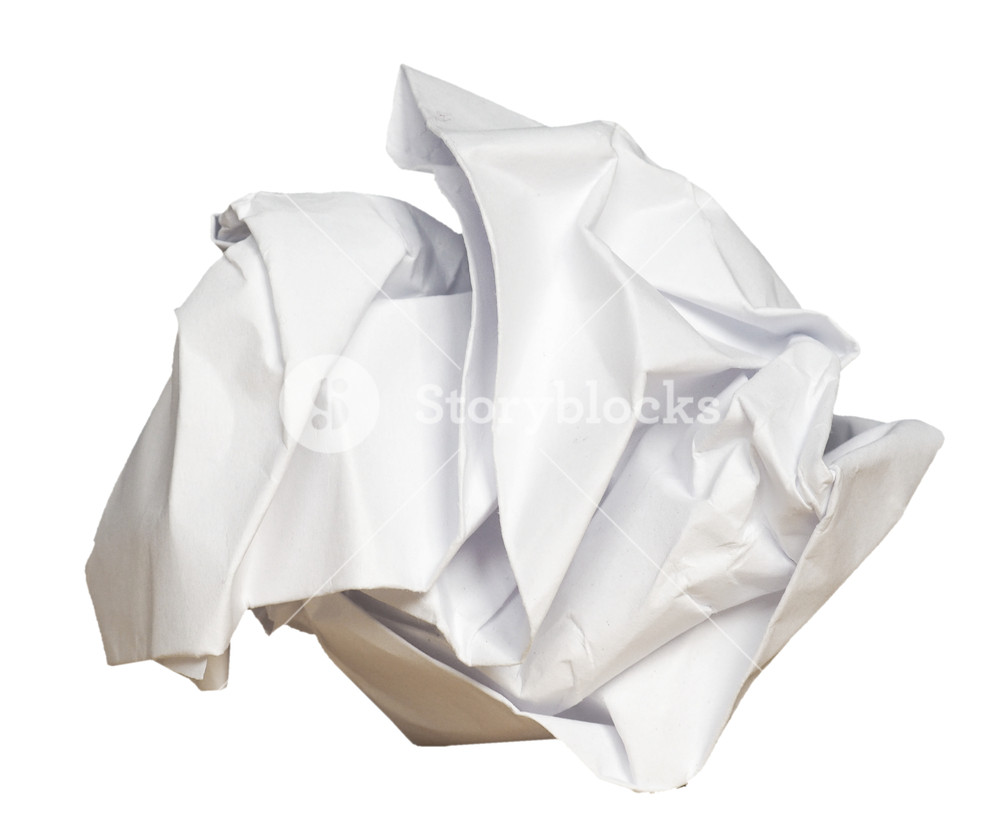 white crumpled paper sheet isolated over transparent background PNG.