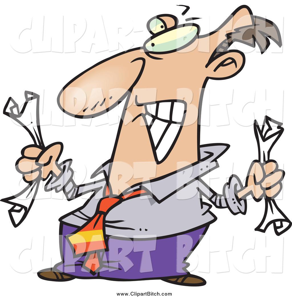 Clip Vector Cartoon Art of a Frustrated Businessman Crumpling.