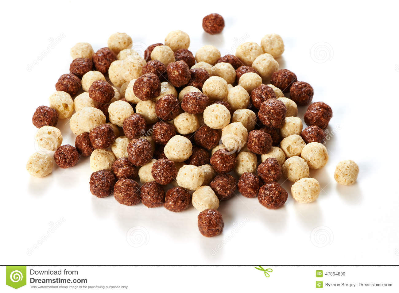 Crunchy Chocolate Balls On White Background Stock Photo.