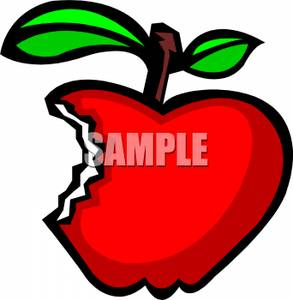 Crunchy red apple clipart.