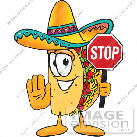 Clip Art Graphic of a Crunchy Hard Taco Character Holding a Stop.