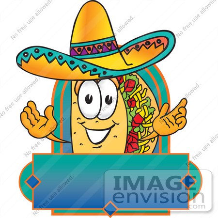 Clip Art Graphic of a Crunchy Hard Taco Character Wearing a.
