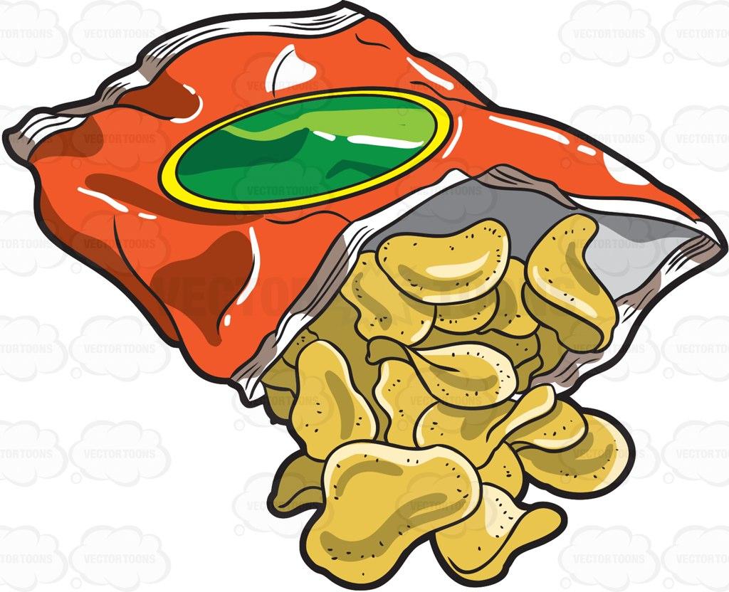 A Bag Of Crunchy Potato Chips Cartoon Clipart.
