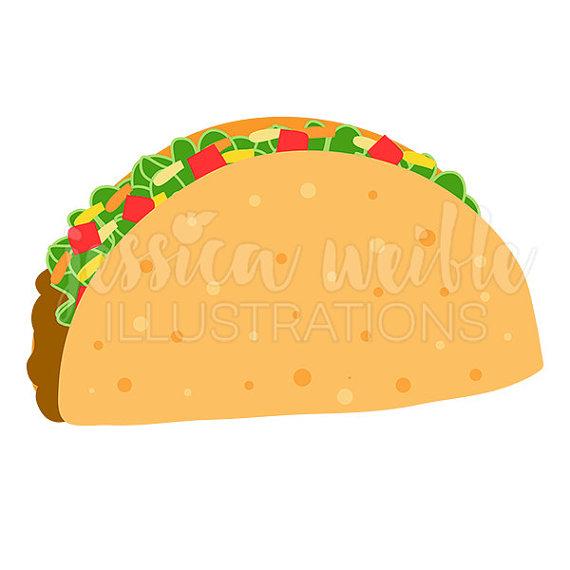 Crunchy Taco Cute Digital Clipart, Taco Clip art, Taco Graphic.