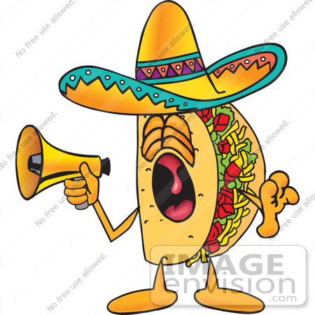 Clip Art Graphic of a Crunchy Hard Taco Character Screaming Into a.