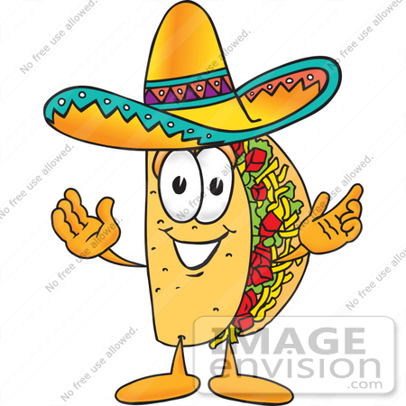 Clip Art Graphic of a Crunchy Hard Taco Character With Welcoming.