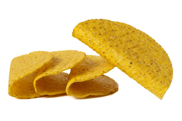 A group of crunchy taco shells.