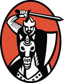 Clipart of knight templar crusader with sword k9405002.