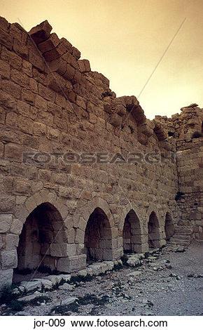 Stock Photograph of Blind Arcade on Wall Karak Crusader Castle.