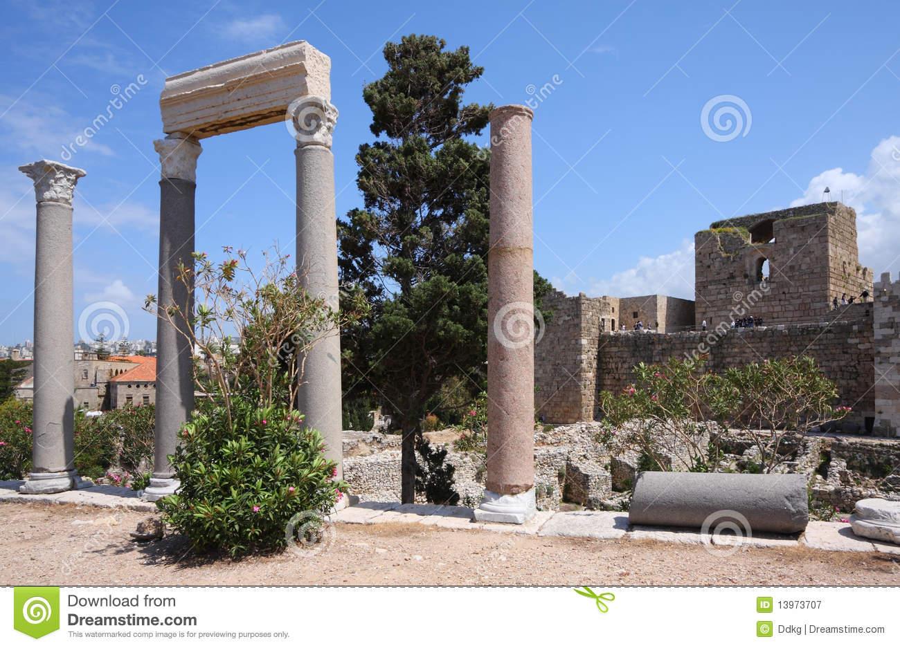 Crusader Castle, Byblos, Lebanon Royalty Free Stock Images.