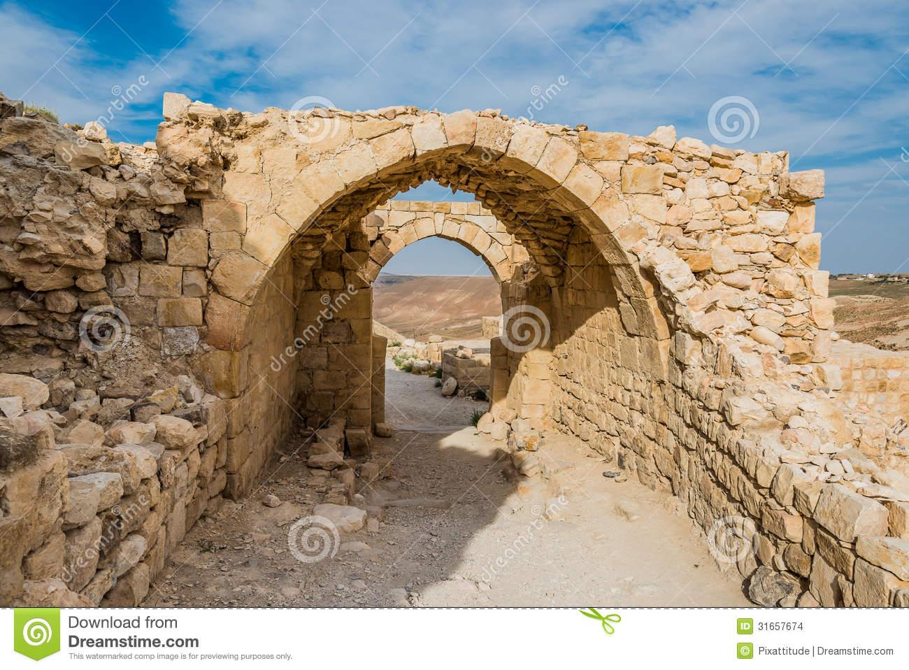 Shobak Crusader Castle Fortress Jordan Stock Images.