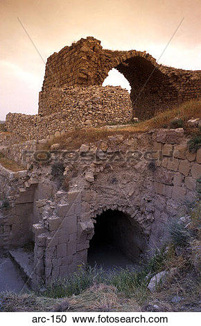 Stock Photography of Ruins of Karnak Crusader Castle Israel arc.